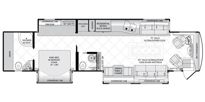 Full specs for 2016 american coach american tradition 42m for Traditions of america floor plans
