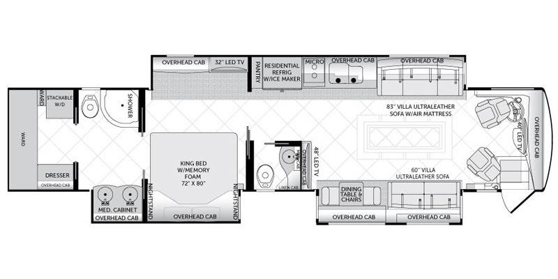 Full specs for 2016 american coach american tradition 45t for Traditions of america floor plans