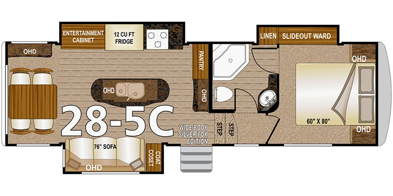Floor Plan For  Arctic Fox Model C Travel Trailer