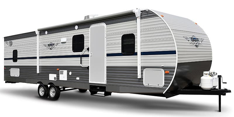 Find Specs for 2019 Shasta - Shasta <br>Floorplan: 18FQ (Travel Trailer)