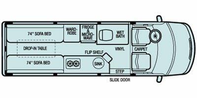 Find Specs for 2008 Airstream - Interstate <br>Floorplan: 22 Rear Sleeper (Class B)