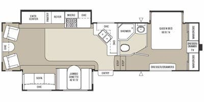 Find Specs for 2008 Coachmen - Chaparral <br>Floorplan: 322RLTS (Fifth Wheel)