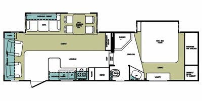 Find Specs for 2008 Forest River - Cardinal <br>Floorplan: 30WB (Fifth Wheel)