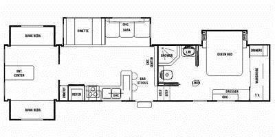 Find Specs for 2008 Forest River - Cedar Creek Silverback <br>Floorplan: 35L4QB (Fifth Wheel)