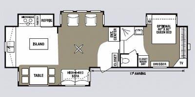 Find Specs for 2008 K-Z - Durango <br>Floorplan: D3551PX4 (Fifth Wheel)