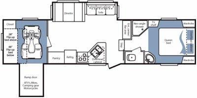 Find Specs For 2008 Keystone Cougar Br Floorplan 310srx Toy Hauler