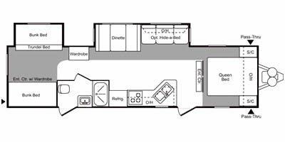 Find Specs for 2009 Keystone - Hornet <br>Floorplan: 31RBDS (Travel Trailer)