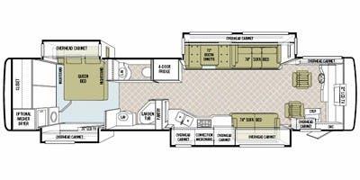 Find Specs for 2009 Tiffin - Phaeton <br>Floorplan: 40 QSH (Class A)