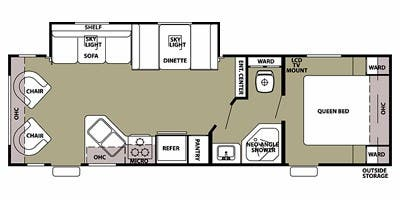 Find Specs for 2012 Forest River - Grey Wolf <br>Floorplan: 26RL (Travel Trailer)