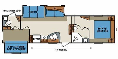 Find Specs for 2013 K-Z - Durango <br>Floorplan: D296BH (Fifth Wheel)