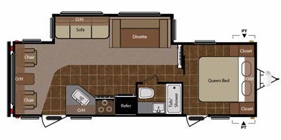 Find Specs for 2013 Keystone - Springdale <br>Floorplan: 266RLSSR (Travel Trailer)