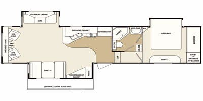 Find Specs for 2012 SunnyBrook - Brookside <br>Floorplan: 349 FWSB (Fifth Wheel)
