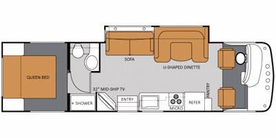 Find Specs for 2011 Thor Motor Coach - Hurricane <br>Floorplan: 31J (Class A)