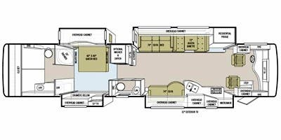 Find Specs for 2011 Tiffin - Allegro Bus <br>Floorplan: 43 QBP (Class A)