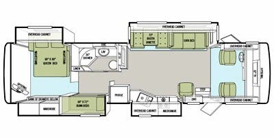 Find Specs for 2011 Tiffin - Allegro <br>Floorplan: 35 QBA (Class A)