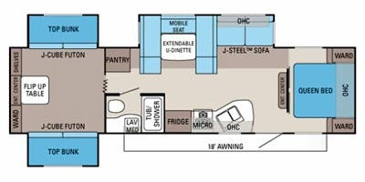 Find Specs for 2013 Jayco - Jay Flight <br>Floorplan: 32 TSBH (Travel Trailer)