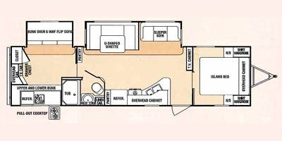 Find Specs for 2014 SunnyBrook - Sunset Creek Sport <br>Floorplan: 340 BHD (Travel Trailer)