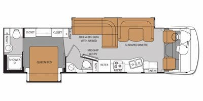 Find Specs for 2012 Thor Motor Coach - Serrano <br>Floorplan: 34M (Class A)
