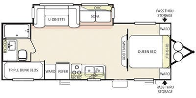 Find Specs for 2013 Forest River - Salem <br>Floorplan: T26TBUD (Travel Trailer)