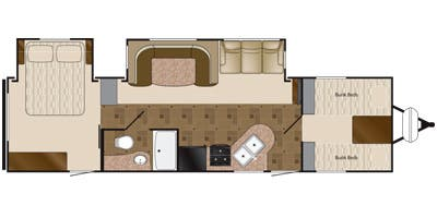 Find Specs for 2014 Heartland - Prowler <br>Floorplan: 32P FQB (Travel Trailer)