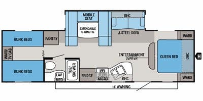 Find Specs for 2013 Jayco - Jay Flight <br>Floorplan: 29 QBH (Travel Trailer)