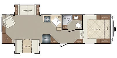 Find Specs for 2014 Keystone - Bullet <br>Floorplan: 252FL (Fifth Wheel)