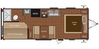 Find Specs for 2013 Keystone - Hideout <br>Floorplan: 210LHS (Travel Trailer)