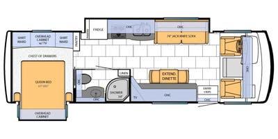 Find Specs for 2013 Newmar - Bay Star <br>Floorplan: 3002 (Class A)