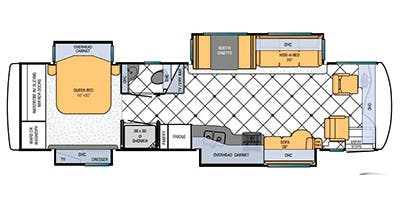 Find Specs for 2013 Newmar - Ventana <br>Floorplan: 3634 (Class A)