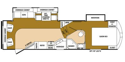 Find Specs for 2014 SunnyBrook - Raven <br>Floorplan: 2910RL (Fifth Wheel)