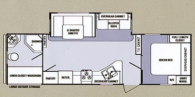 Find Specs for 2013 SunnyBrook - Remington <br>Floorplan: 29RBS (Travel Trailer)