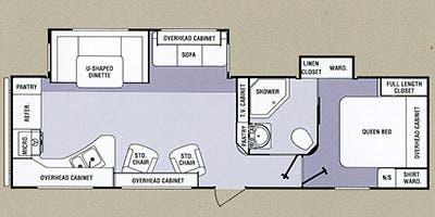 Find Specs for 2013 SunnyBrook - Remington <br>Floorplan: 30RKD (Travel Trailer)