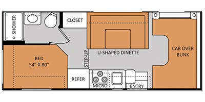Find Specs for 2014 Thor Motor Coach - Four Winds <br>Floorplan: 22E (Class C)