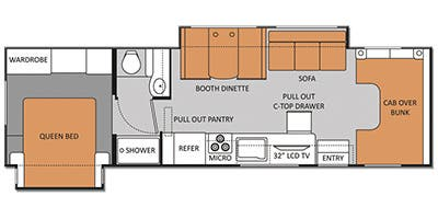 Find Specs for 2014 Thor Motor Coach - Four Winds <br>Floorplan: 31L (Class C)