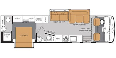 Find Specs for 2013 Thor Motor Coach - Hurricane <br>Floorplan: 34E (Class A)