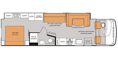 Find Specs for 2013 Thor Motor Coach - Hurricane <br>Floorplan: 34F (Class A)