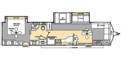 Find Specs for 2014 Coachmen - Catalina <br>Floorplan: 39FLFS (Destination Trailer)