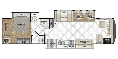 Find Specs for 2014 Coachmen - Cross Country <br>Floorplan: 390TS (Class A)