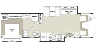 Find Specs for 2014 Coachmen - Encounter <br>Floorplan: 34TA (Class A)
