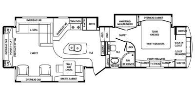 Find Specs for 2014 DRV - Mobile Suites <br>Floorplan: 38RSB3 (Fifth Wheel)