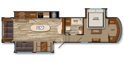 Find Specs for 2015 Grand Design - Solitude <br>Floorplan: 369RL (Fifth Wheel)