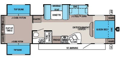 Find Specs for 2014 Jayco - Jay Flight <br>Floorplan: 32 TSBH (Travel Trailer)