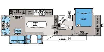 Find Specs for 2014 Jayco - Pinnacle <br>Floorplan: 36KPTS (Fifth Wheel)