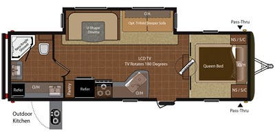 Find Specs for 2014 Keystone - Hideout <br>Floorplan: 27RBS (Travel Trailer)