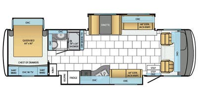 Find Specs for 2014 Newmar - Bay Star <br>Floorplan: 3308 (Class A)