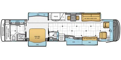 Find Specs for 2014 Newmar - Essex <br>Floorplan: 4544 (Class A)