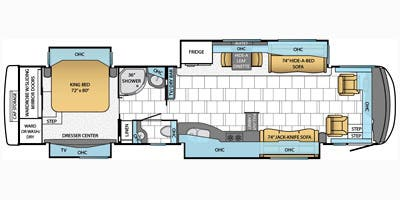 Find Specs for 2014 Newmar - Mountain Aire <br>Floorplan: 4038 (Class A)