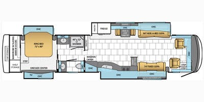 Find Specs for 2014 Newmar - Mountain Aire <br>Floorplan: 4360 (Class A)