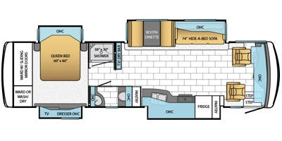 Find Specs for 2014 Newmar - Ventana <br>Floorplan: 3433 (Class A)