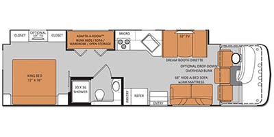 Find Specs for 2014 Thor Motor Coach - Hurricane <br>Floorplan: 34J (Class A)